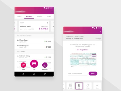 Fintech Mobile App spendings mobile pay bill transactions activity my cards bank app product design payment payment app money account dashboard pay uiux bank finance fintech app banking