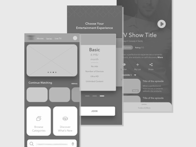 SVOD Wireframe High-Fi appdesign app mobile web content high fidelity data streaming video svod wireframe ui ux