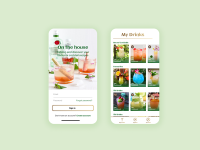 Cocktail recipe app app design