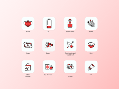 Icons for RATION KIT icon icon set