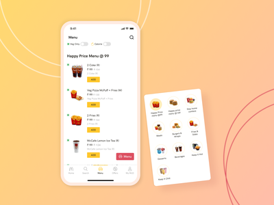 Menu Screen - Food Delivery App food delivery menu design menu card redesign concept redesign app design ux ui