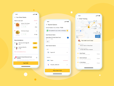 Cart, Payment & Track order Screen - Food Delivery App add to cart track order payment method food app redesign redesign concept app design ux ui