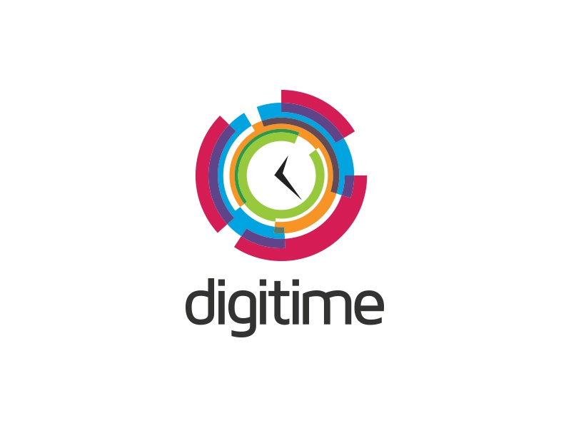 Digitime Logo timer technologies networking designer communication colorful abstract circular global multimedia deadline hour