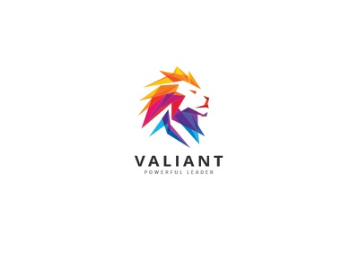 Valiant Lion Logo powerful polygon strength abstract brave courage dominion authority valiant royal king lion