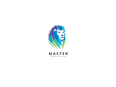 Master Lion Logo majestic creative leadership colorful investment royalty triangulation polygon strength dominance master lion