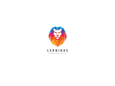 Polygons Lion Logo majestic creative leadership colorful investment royalty triangulation polygon strength dominance master lion