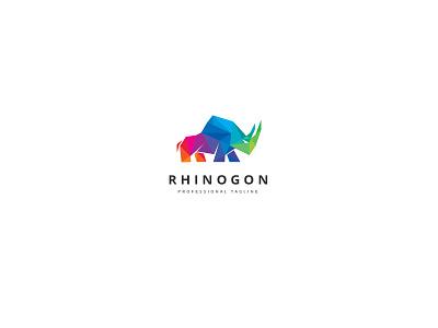 Polygon Rhino Logo expertise strength animal studio technologies colorful triangulation polygon protection defense rhinoceros rhino
