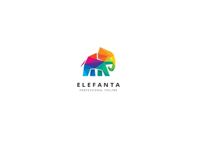 Polygon Elephant Logo wireframe triangulation expertise strength wisdom studio software technologies polygon colorful elephant