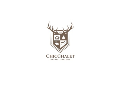 Chic Chalet Logo trekking sun crest shield location forest wood landscape mountain hunting fishing rod fishing sport outdoor nature deer pine tree chic chalet