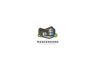 Modern House Logo architect architecture logo architecture home staging home consultant realtor real estate contractor builder construction house design contemporary house modern