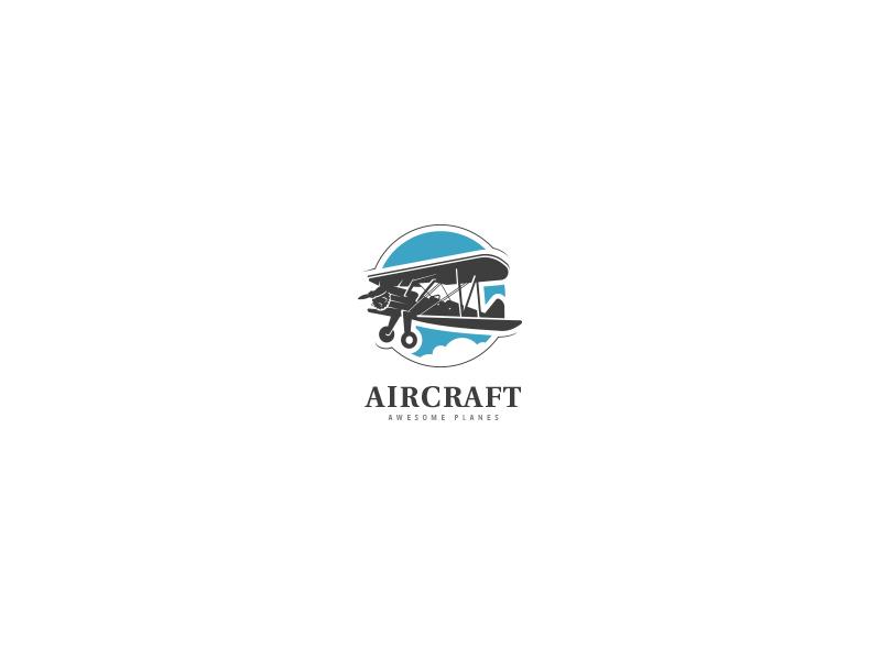 Aircraft Logo fast cloud sky pilot vintage tour traveller travel flight wings biplane plane aircraft air