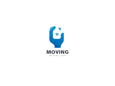 Moving Logo negative space neighbor strength holding moving company renovator hand realtors real estate builder renovation residential house home movers move moving