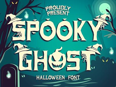 Spooky Ghost zombie spooky graver ghost mockup craft ocktober display font halloween design new background