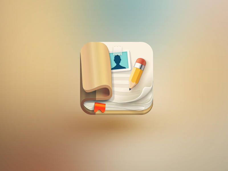 Contacts icon icon ios skeuomorphism app illustration address book android