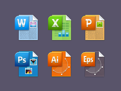 File Type Icons icons word excel power point photoshop illustrator doc xls psd ai ppt eps