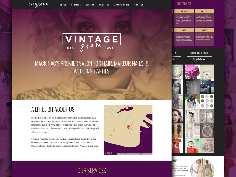 Vintage Glam glam fashion salon hair branding website