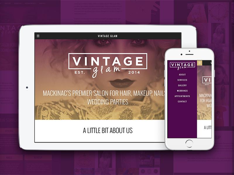 Vintage Glam | Mobile and Tablet tablet mobile website salon hair glam fashion branding