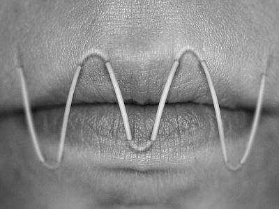 Technophilia | Lips photography black and white photo manipulation