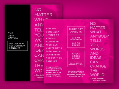 Leadership Banquet Invitation contrast fold invitation print