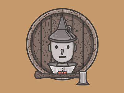 Tin Man linework design flat illustrator vector