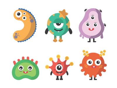 Respiratory Viruses flat design graphic icons illustration