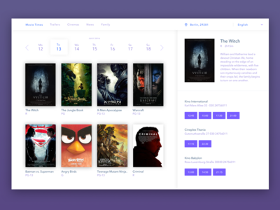 Movie Times Dribbble