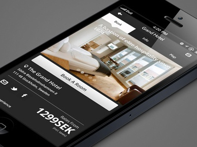 Hotel App hotel ux iphone mobile interaction design flat design