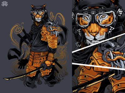 Hunter Tiger predator mask warrior dragon wacom illustration ninja ronin samurai shadow tiger hunter