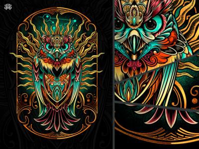 Sowl Keeper wacom clothing constillation geometrical symmetrical illustration tshirt dreamchatcher keeper soul owl