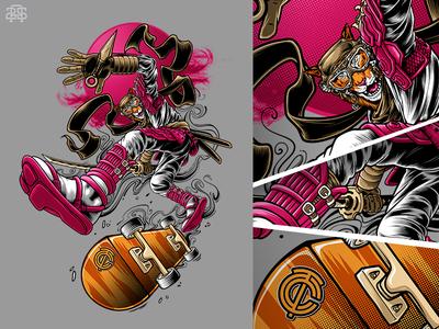 Huntiger Skate - kickflip kickflip skateboard character warrior ninja samurai ronin tiger hunter apparel clothing tshirt