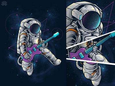 Spacebeat photoshop illustration space guitar rocker spacebeat cosmonaut astronaut spaceman