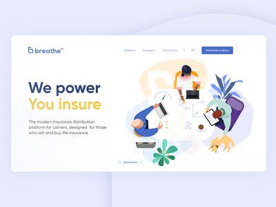 Working remotely work from home remote platform insurance website banner character illustration