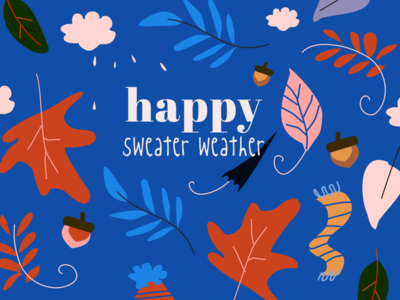 Finally sweater weather! sweater weather pattern leafs fall seasons greetings seasons sketch vector illustration