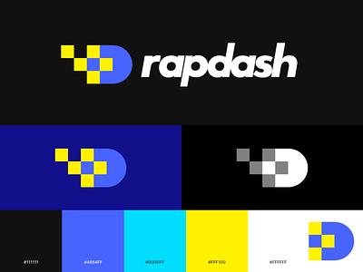 Rapdash Logo Treatment data baseball logo design fire 8bit digitized fireball logo