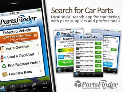 Partsfinder Mobile - v1.0 Landing app logo mobile car parts partsfinder