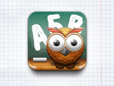 ABCnimal iOS app icon iphone app icon ipad app icon app for kids learning app abc learn owl school board icon design app design