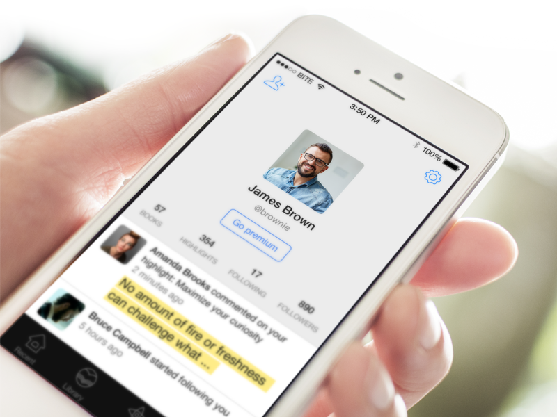 Fastr Books User Profile Redesign ios7 app mobile iphone books reader ebooks profile user ui invite friends