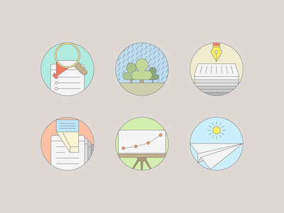 Colorized Flat Icon Set For SEO Services flat icons iconset stroke search presentation paper browser seo smm marketing user