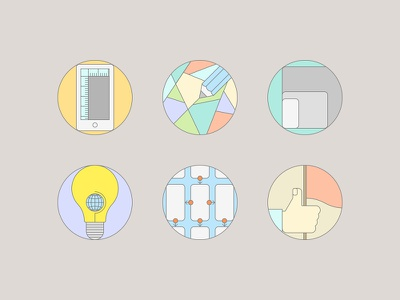 Flat Icons For Design Services flat ui lamp icon set hand flag stroke pencil responsive mobile wireframe web