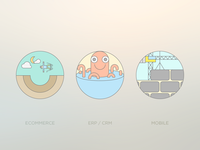 Flat Outline Icons For Development Services