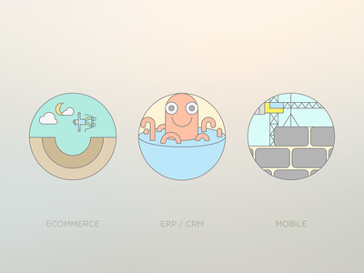 Flat Outline Icons For Development Services basket build development services flat icon set ecommerce mobile erp crm octopus skateboarding