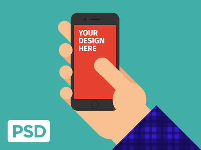 Free iPhone 8 in Hand download template illustration mobile psd ui mockup hand iphone flat vector freebie