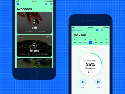 Avocados Growth Tracking iOS 11 App mobile profile progress calendar list ui design ios app tracking growth app design avocado ios 11