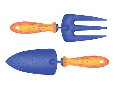 HKD - Gardening Tools shovel fork tool gardening vector illustration crafts airbrush