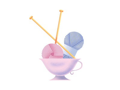 HKD Knitting Cup tea coffe needle vector illustration cup crafts airbrush