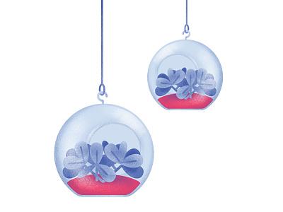 HKD - Gardening Glass decor vector illustration gardening crafts glass plant airbrush