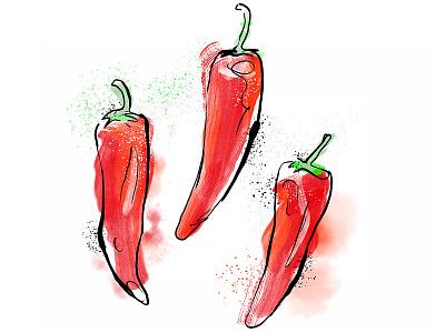 Pepper red ink veggie vegetables cuisine pepper food