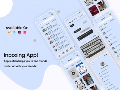 Inboxing App UI interaction uiux appui design icon figma trend2021 brandidentity newdesign branding interface hangouts friends chat message inboxingapp