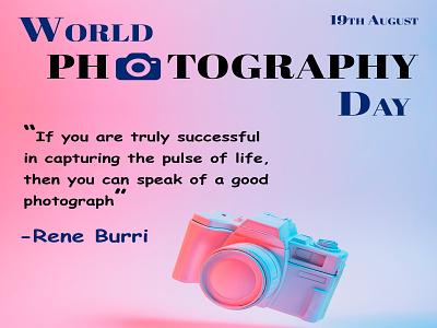 Social Media Banner | World Photography Day design creative 19thaugust socialmediabanner canera photo photoshoot world day photography lettermark graphic design