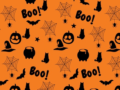 "Weekly Warmup - ""Something Spooky"" black orange spider cauldron bat cat pumpkin spooky weeklywarmup wallpaper pattern surface art seamless background design digitalart drawing art digital"